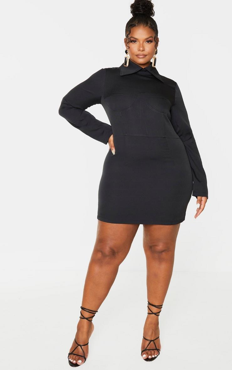 Plus Black Corset Detail Shirt Dress 4