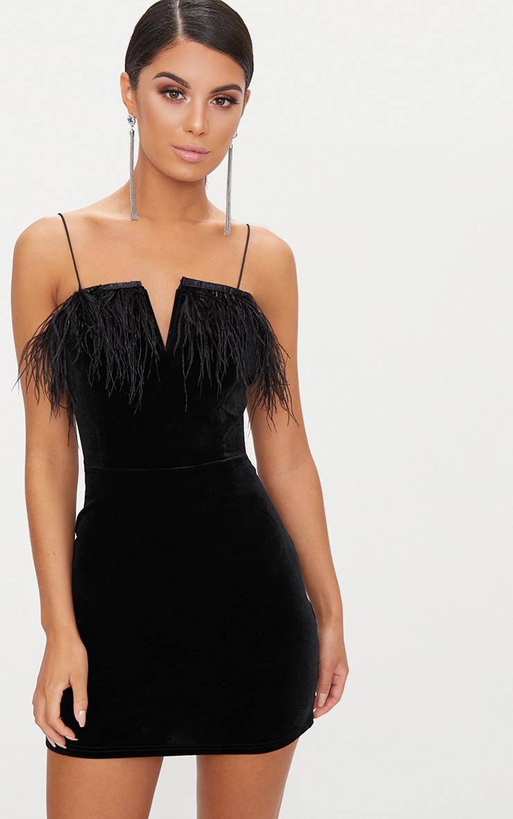 Black Velvet V Plunge Feather Trim Bodycon Dress  1