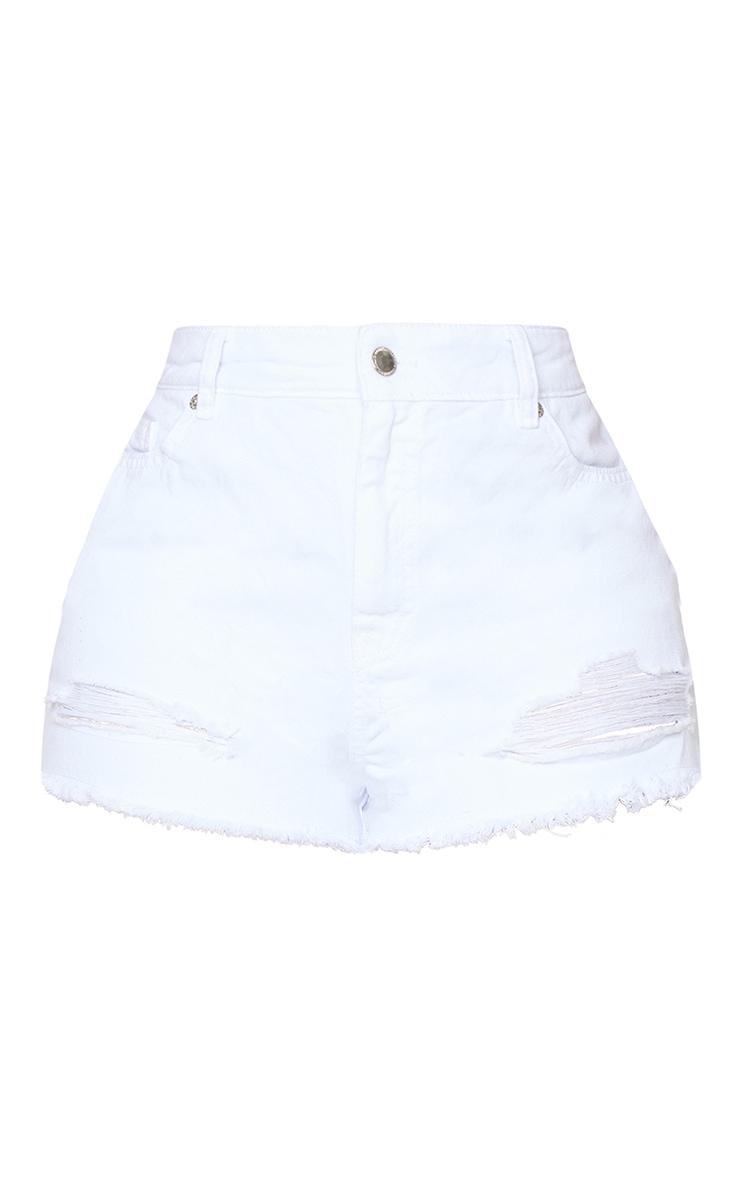 PRETTYLITTLETHING Shape White Ripped Hem Denim Shorts 6