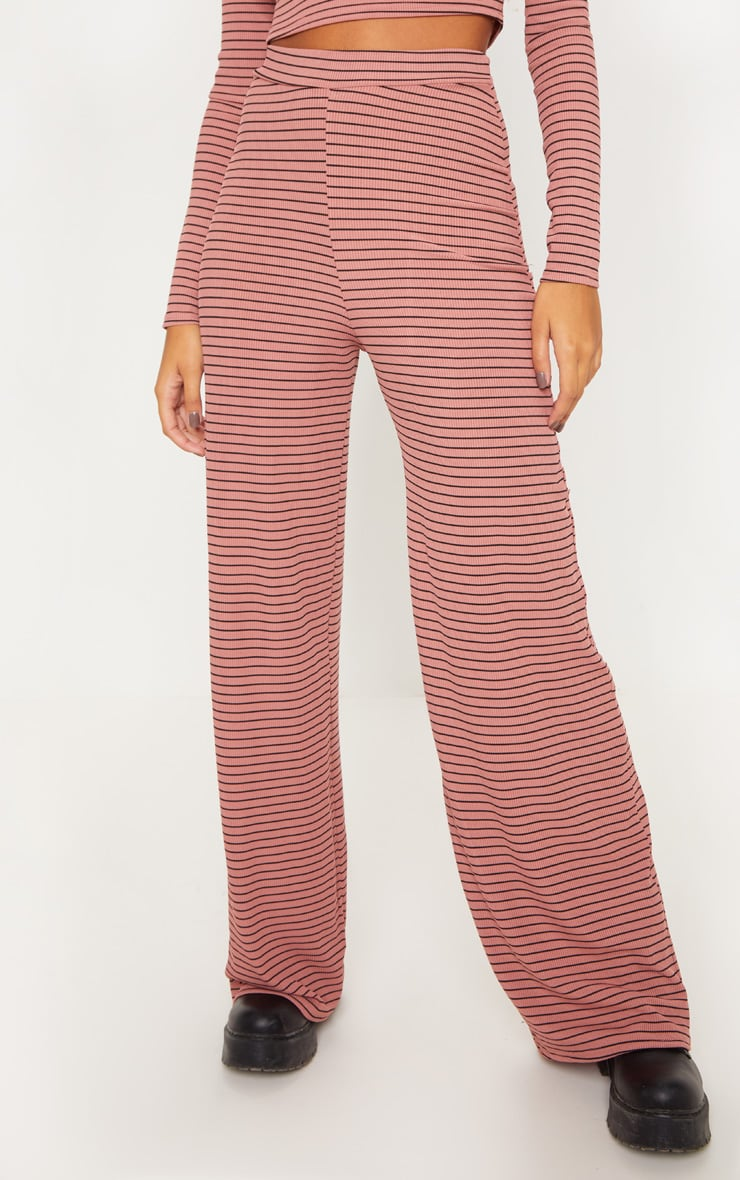 Pink Striped Knitted Wide Leg Trouser  2