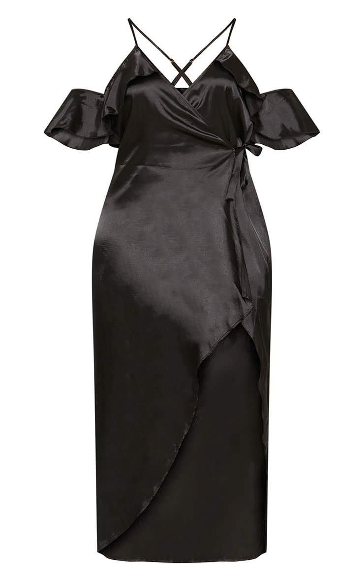 Plus Black Satin Frill Detail Wrap Maxi Dress 3