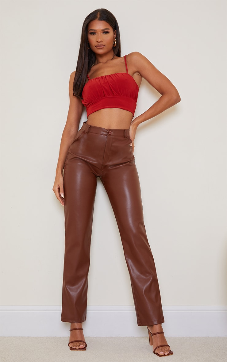 Rust Slinky Ruched Bust Crop Top 3