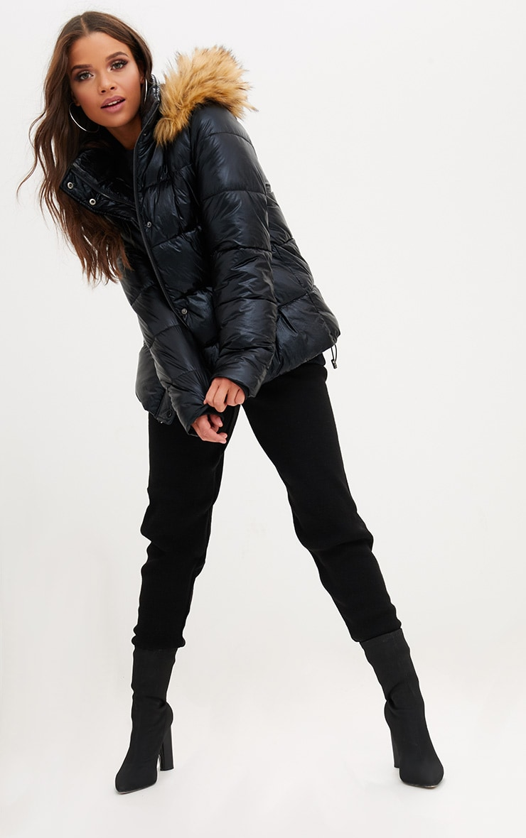 Black Foil Puffer Jacket With Faux Fur Hood 4