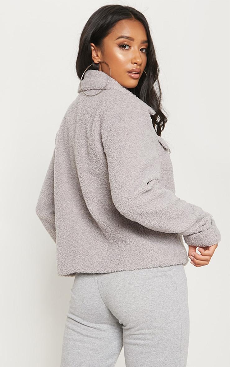 Petite Grey Teddy Fleece Pocket Detail Jacket 2