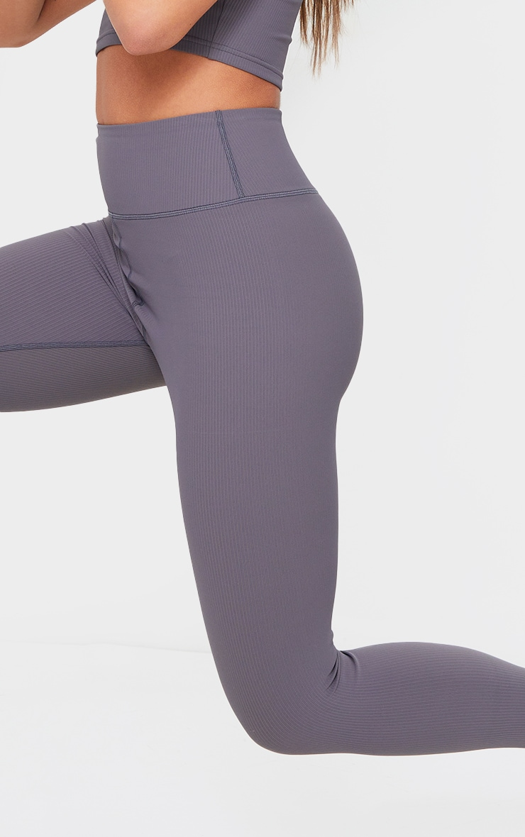Charcoal Sculpt Ribbed Textured Gym Leggings 4