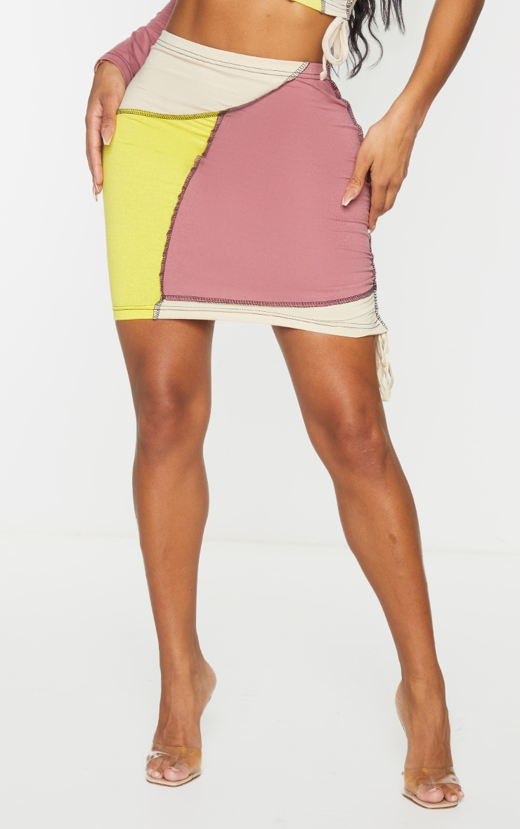 Shape Stone Cotton Panel Detail Ruched Side Bodycon Skirt 2