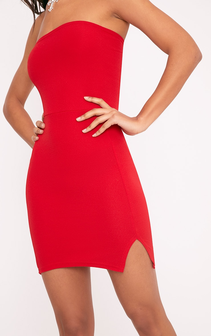 Layala robe moulante bandeau détail fente rouge 5