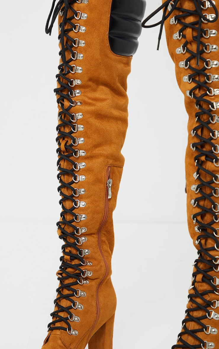 Tan Faux Suede Contrast PU Back Eyelet Lace Up Heeled Over Knee Boots 3