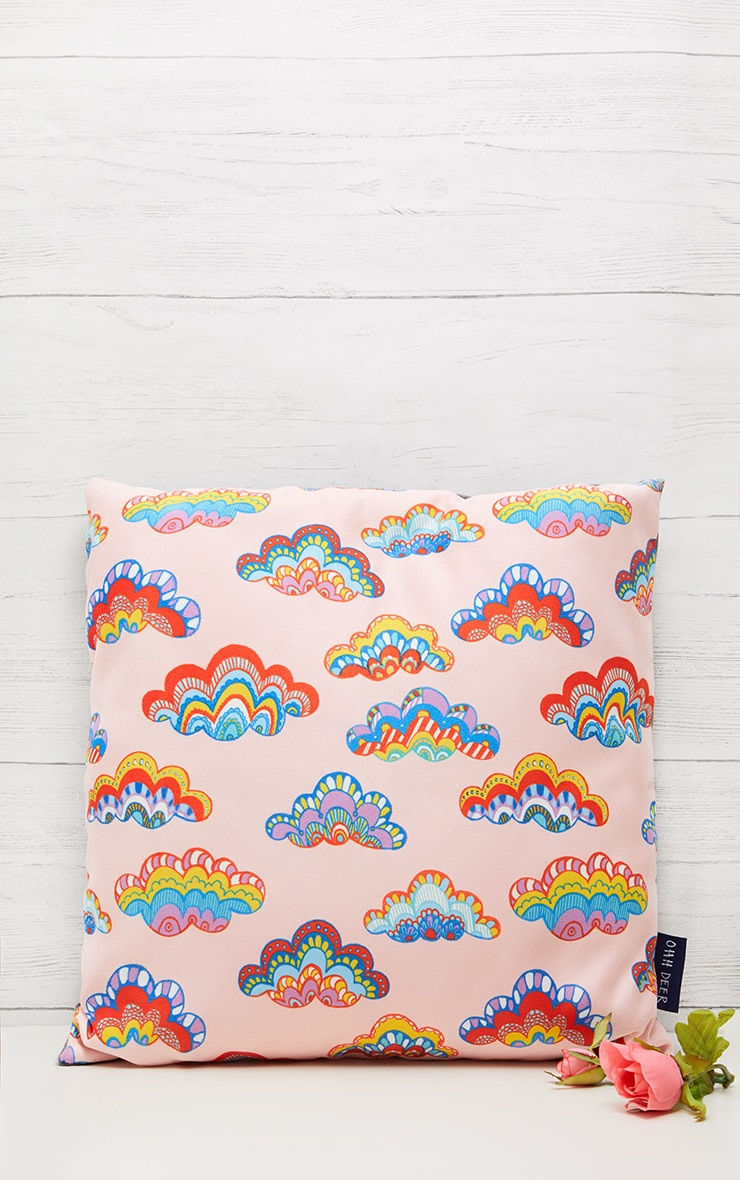 Pink Rainbow Clouds Cushion 1