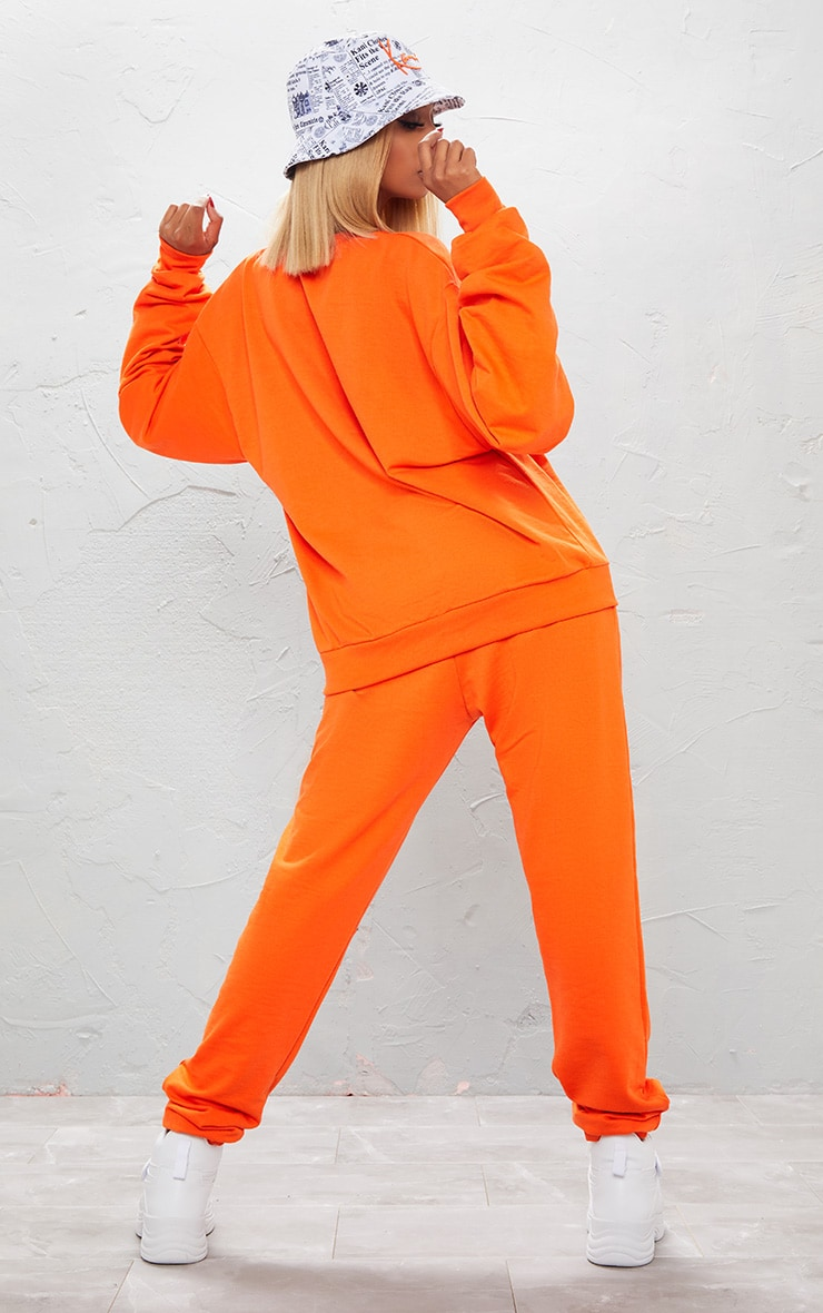 KARL KANI Orange Embroidered Oversized Sweatshirt 3