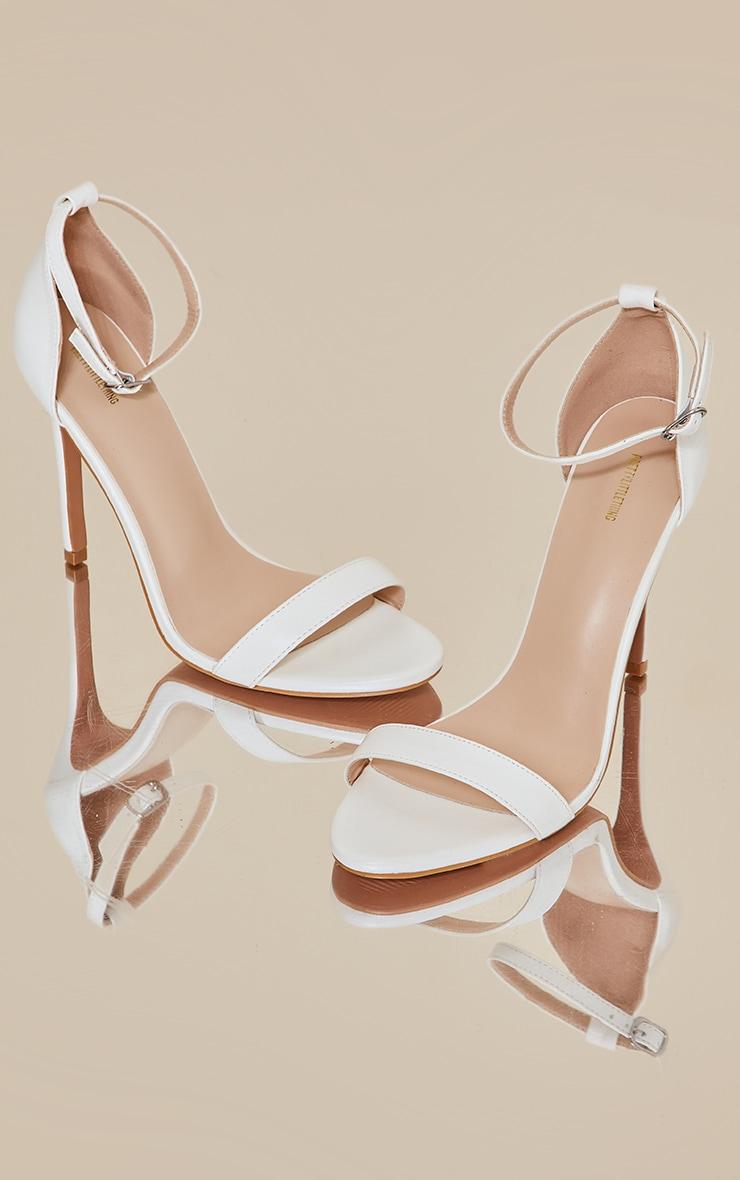 White Wide Fit Clover Single Strap Heeled Sandal 3