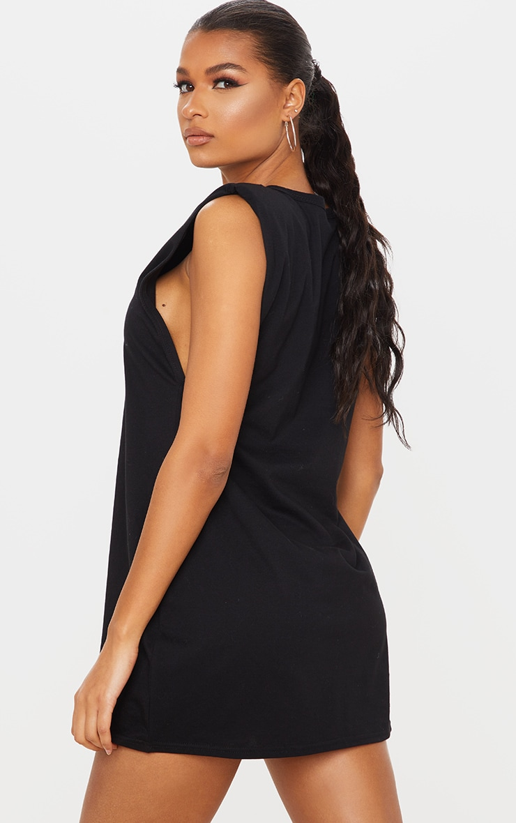 Black Shoulder Padded Sleeveless T Shirt Dress 2