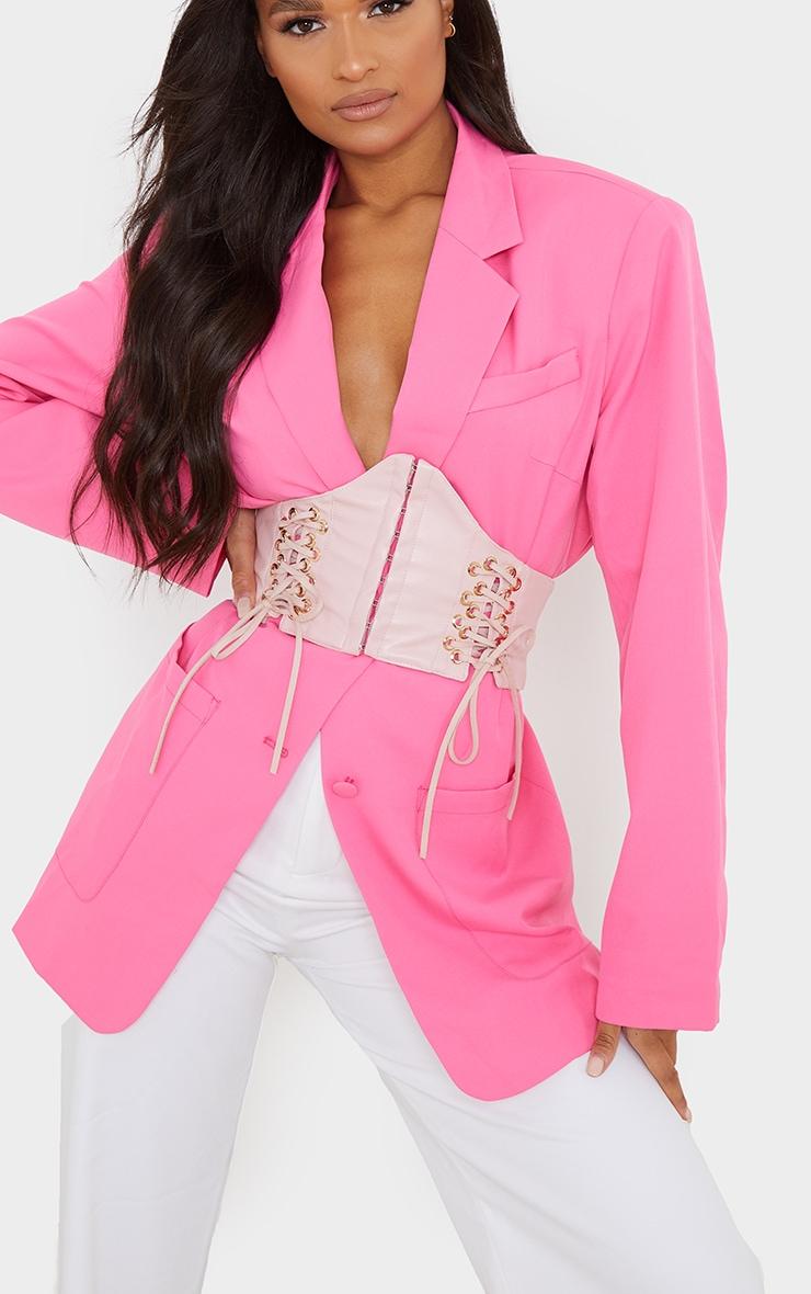 Pink PU Hook And Eye Corset Belt 1