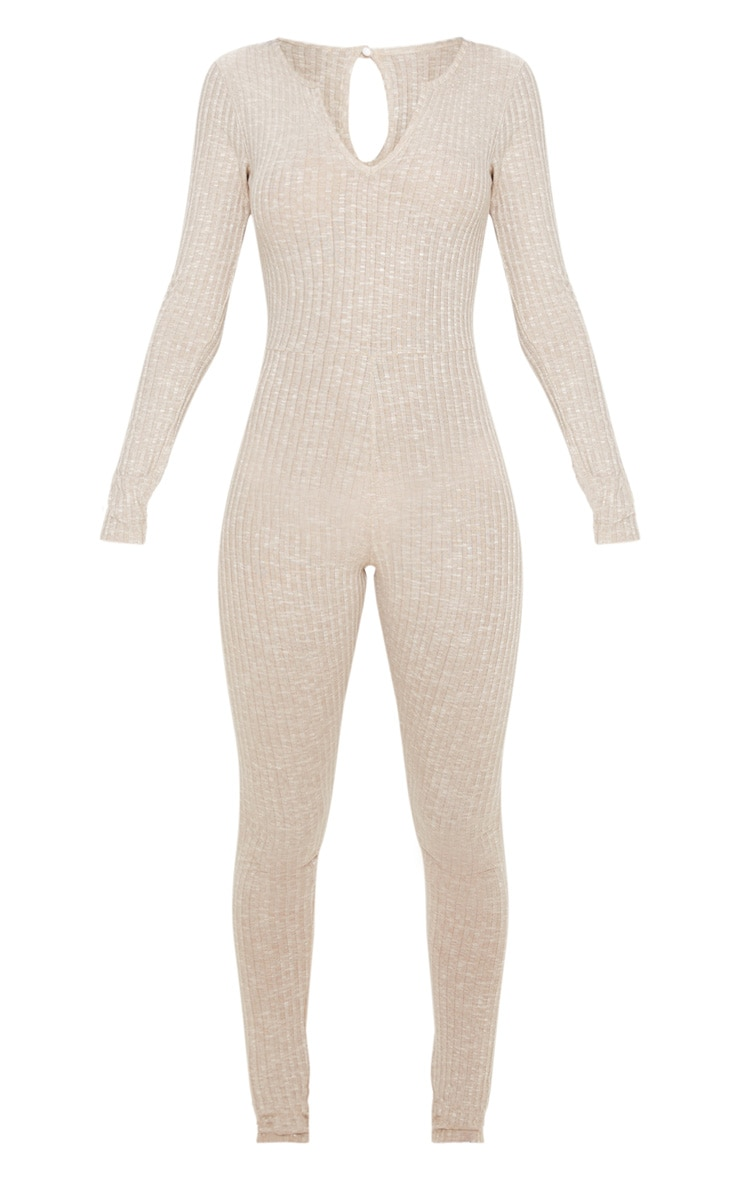 Oatmeal Open Neck Fitted Jumpsuit 3