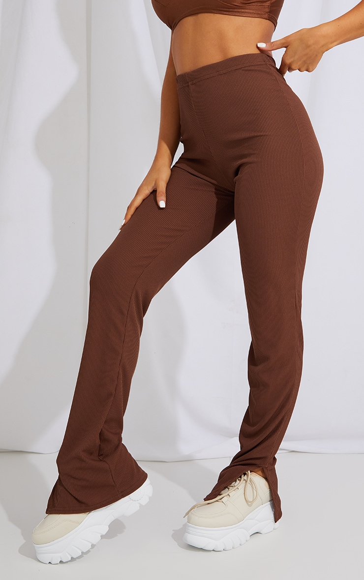 Recycled Chocolate Split Hem Trousers 2