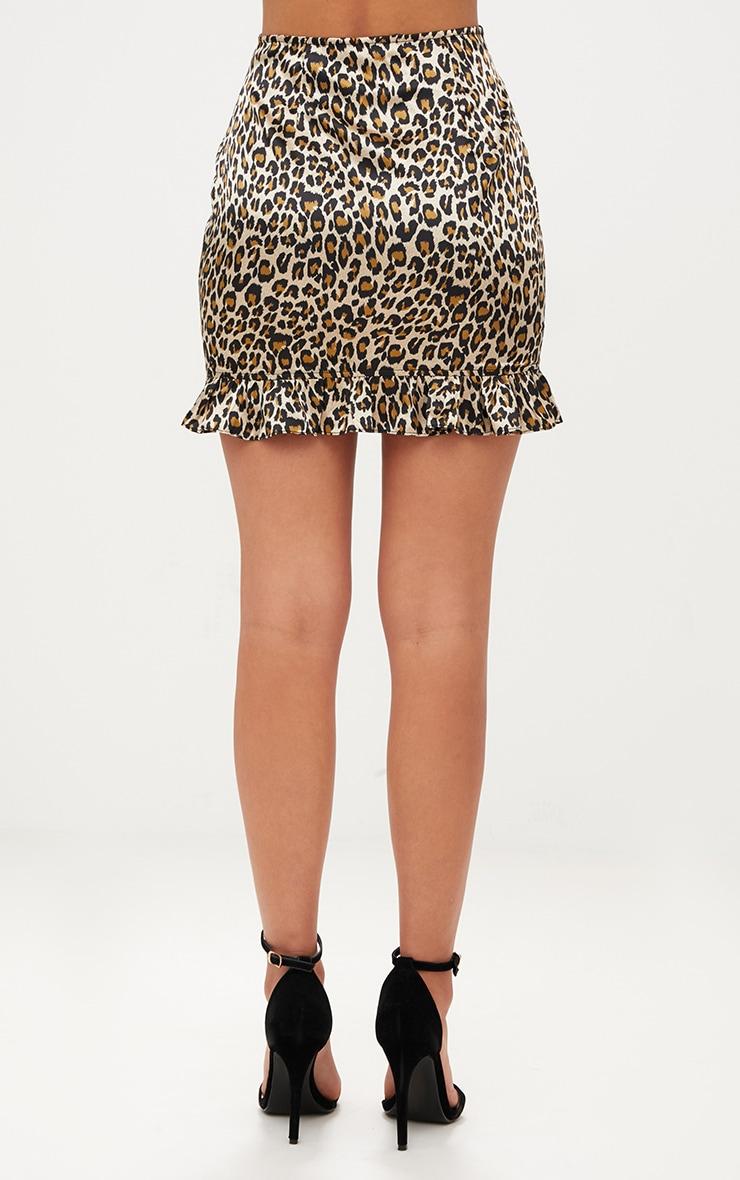 Brown Satin Leopard Print Frill Hem Mini Skirt 4