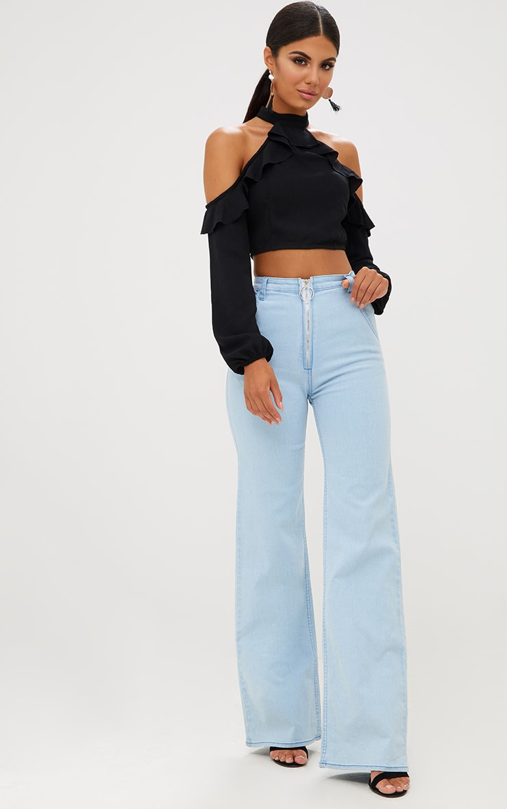 Light Wash Ring Pull Extreme Wide Leg Jeans 2