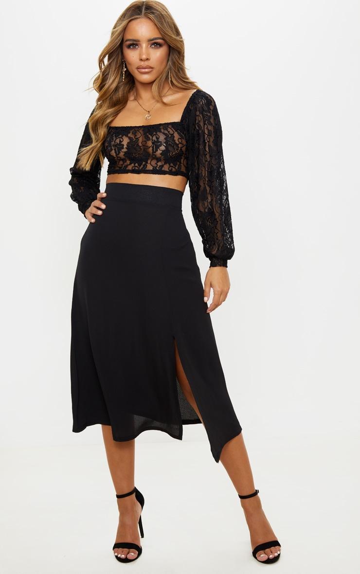 professional official photos reasonable price Petite Black Floaty Midi Skirt