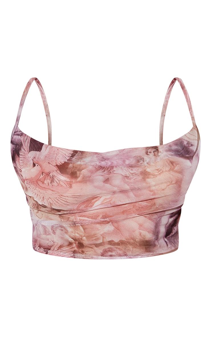 Pink Renaissance Print Mesh Cowl Neck Cami 5