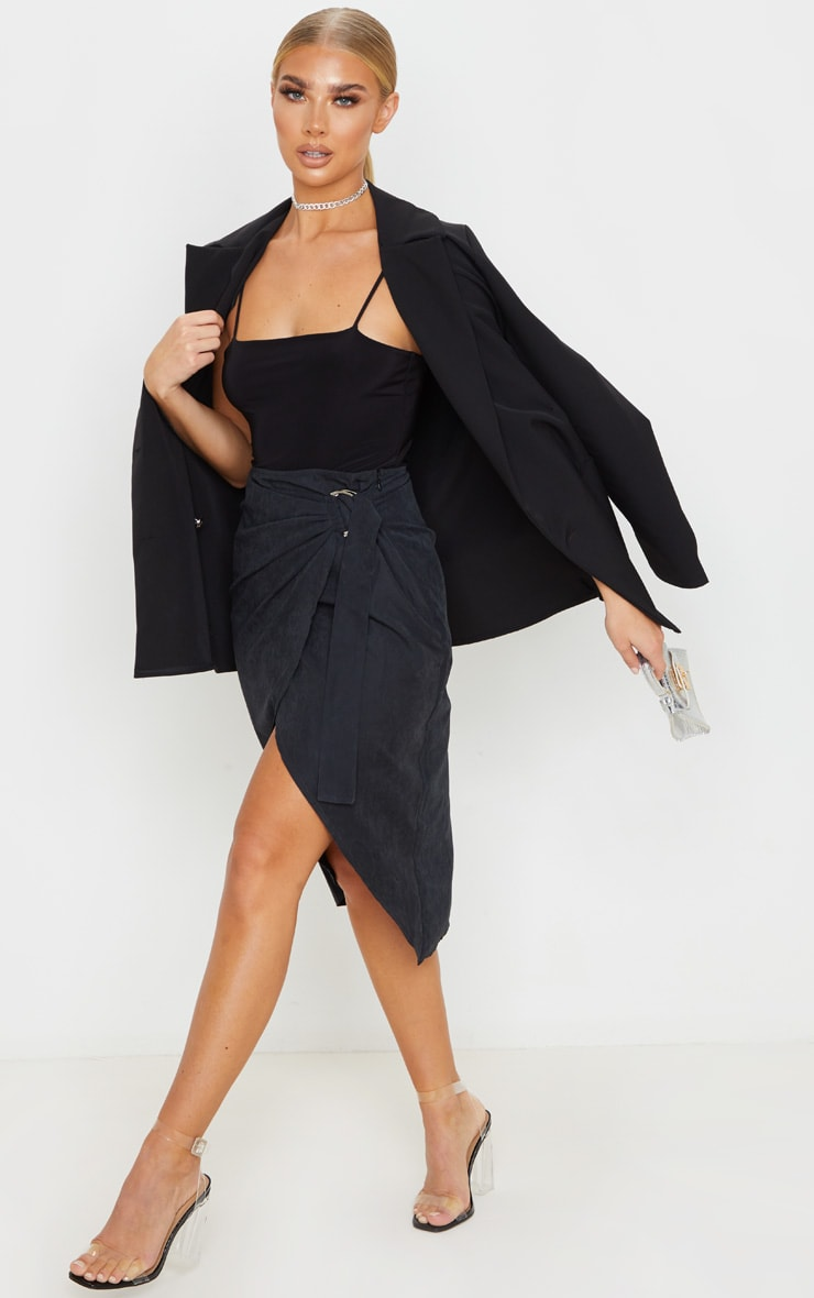 Black Faux Suede D Ring Wrap Midi Skirt 1