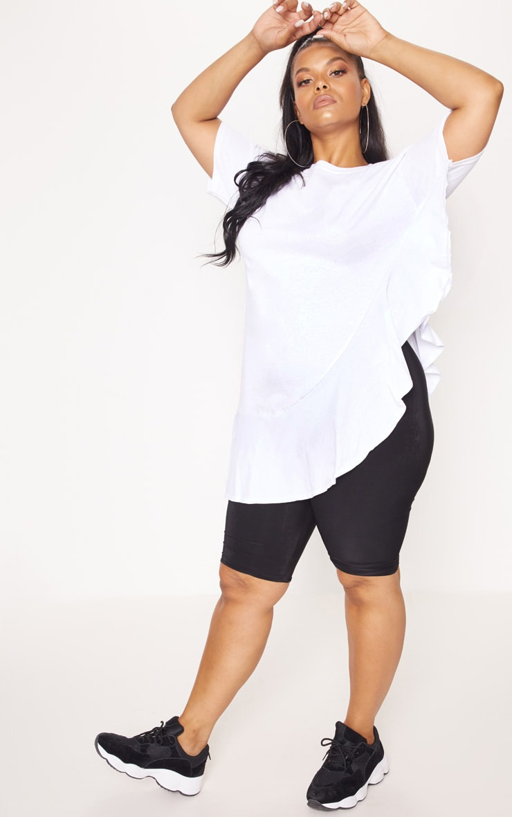 Plus White Frill Detail Oversized T-Shirt 4