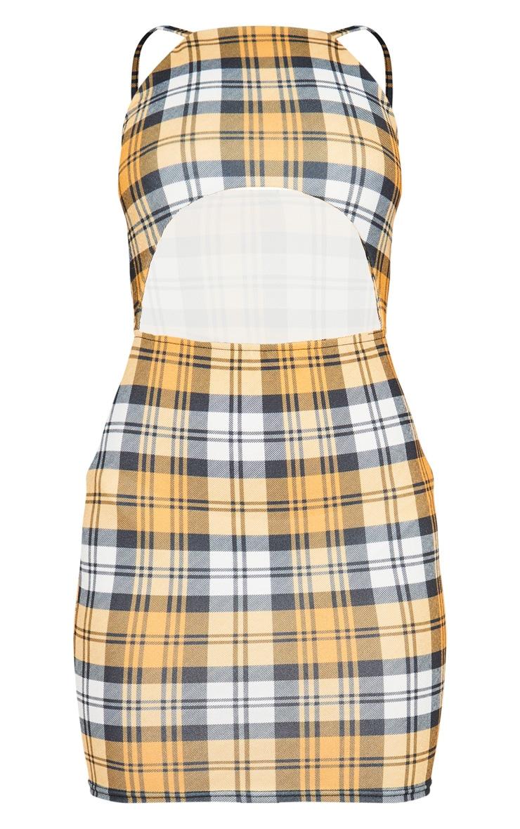 Yellow Check Print Underboob Bodycon Dress 3