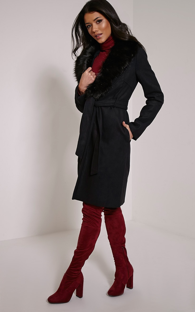 Deleena Black Large Faux Fur Collar Coat 3