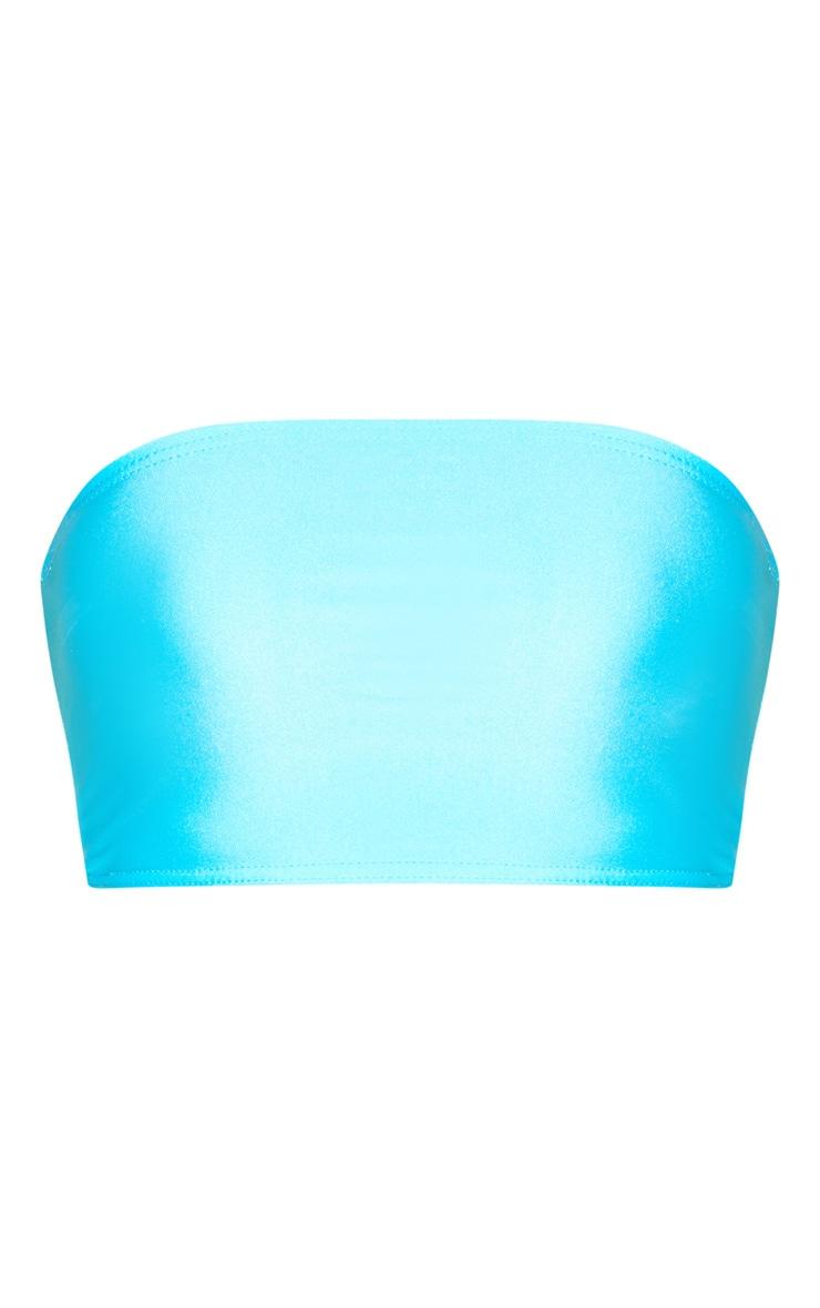 Bright Blue Disco Bandeau Crop Top 3