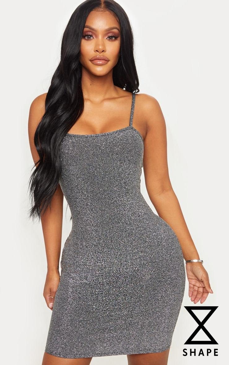 Shape Silver Textured Glitter Strappy Bodycon Dress