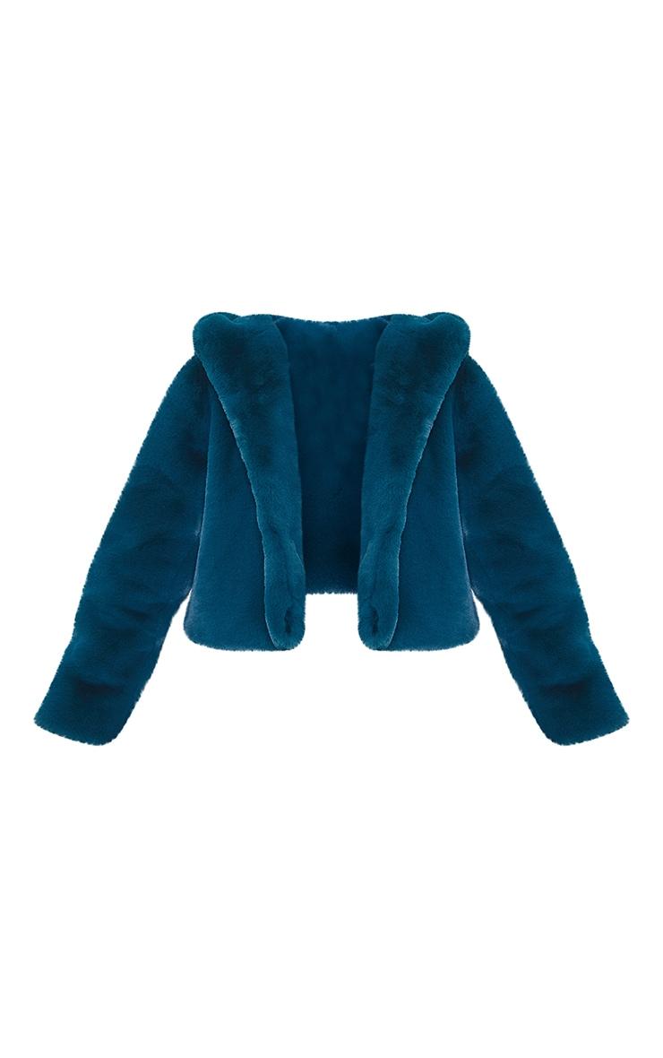 Teal Premium Cropped Faux Fur Hooded Coat 5