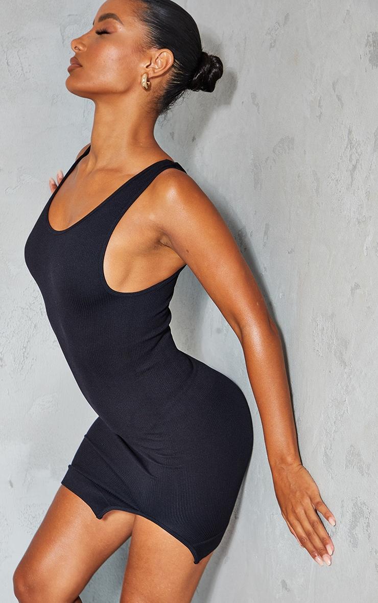 Black Structured Contour Rib Sleeveless Bodycon Dress 3