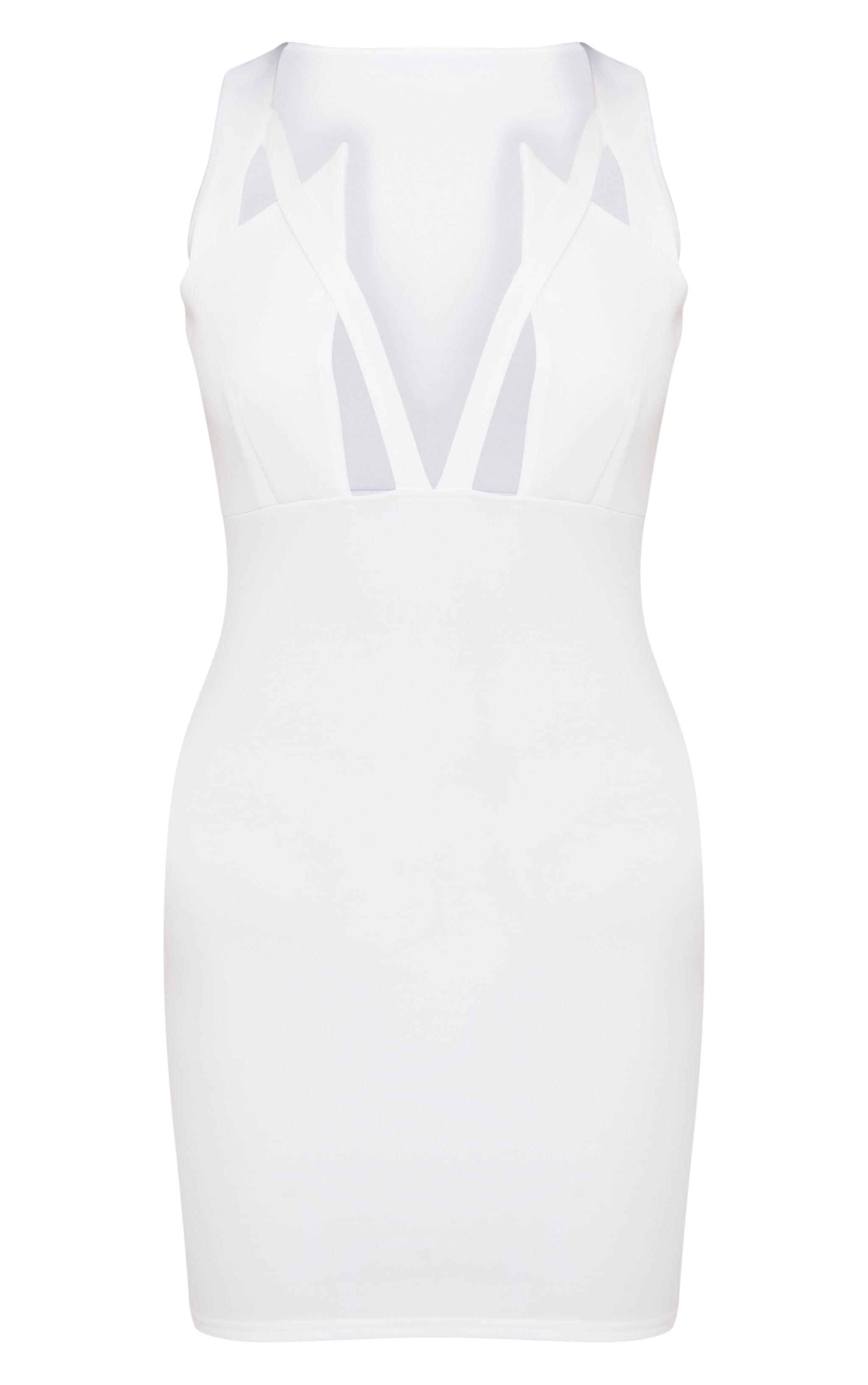 White Scuba Sleeveless Cut Out Plunge Bodycon Dress 3