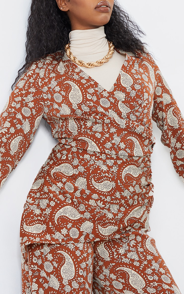 Rust Paisley Ruched V Neck Long Sleeve Jumpsuit 4
