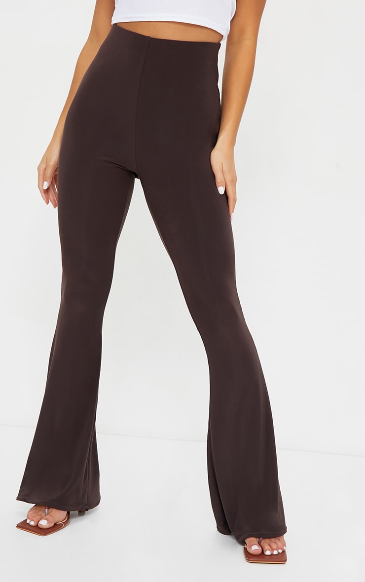 Petite Chocolate Flare Ruched Bum Slinky Pants 2