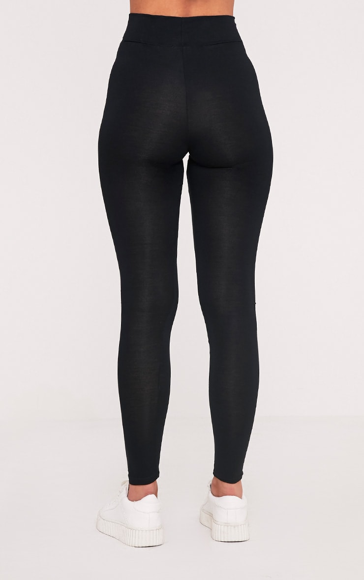 Basic Black High Waisted Jersey Leggings 4