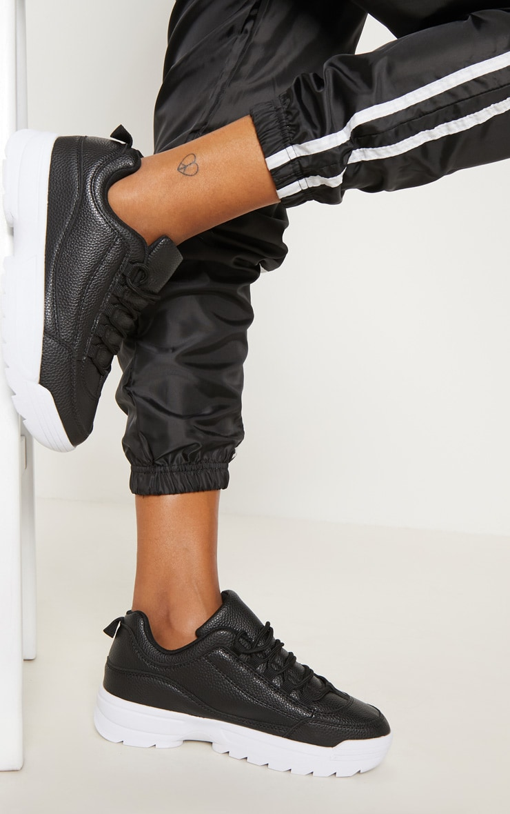 Black Chunky Cleated Sole Sneakers 2