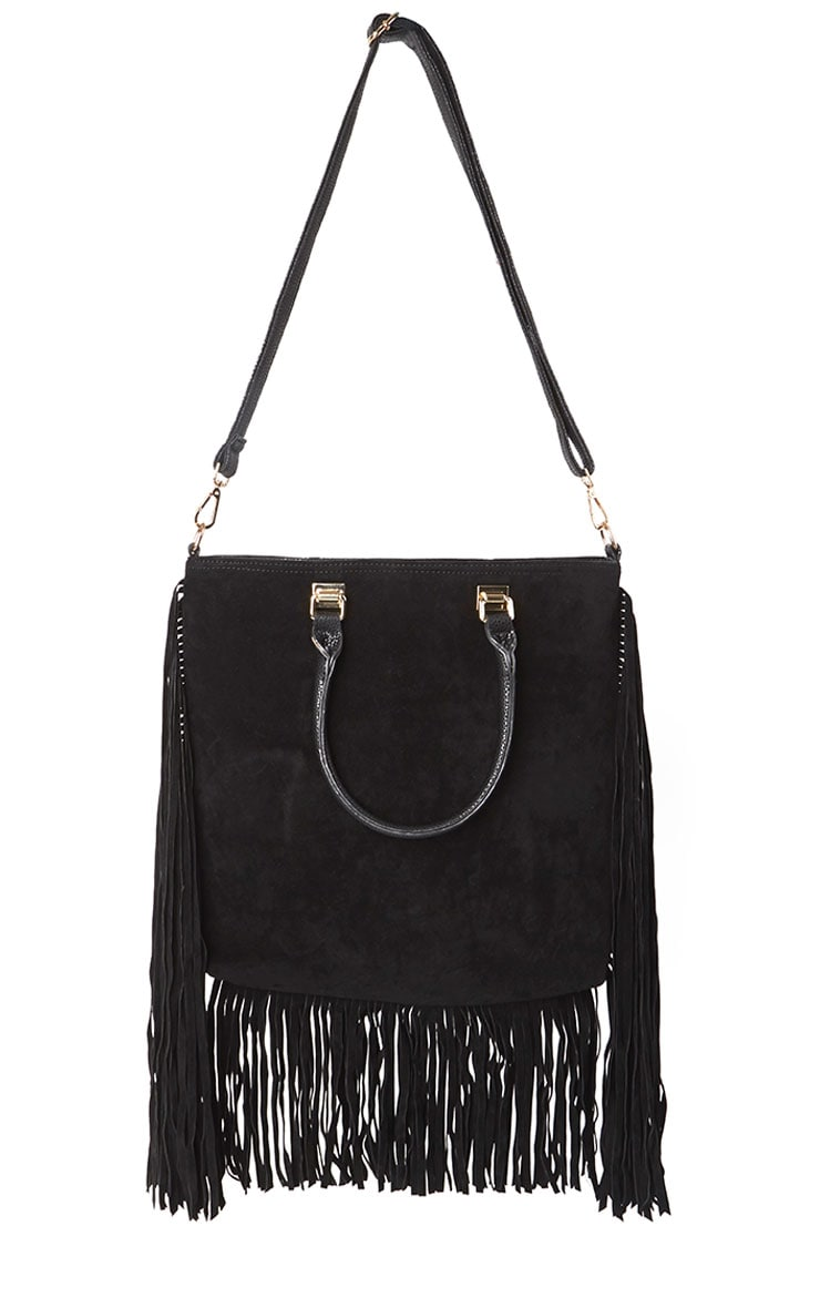 Emeli Black Suede Tassel Bag 3