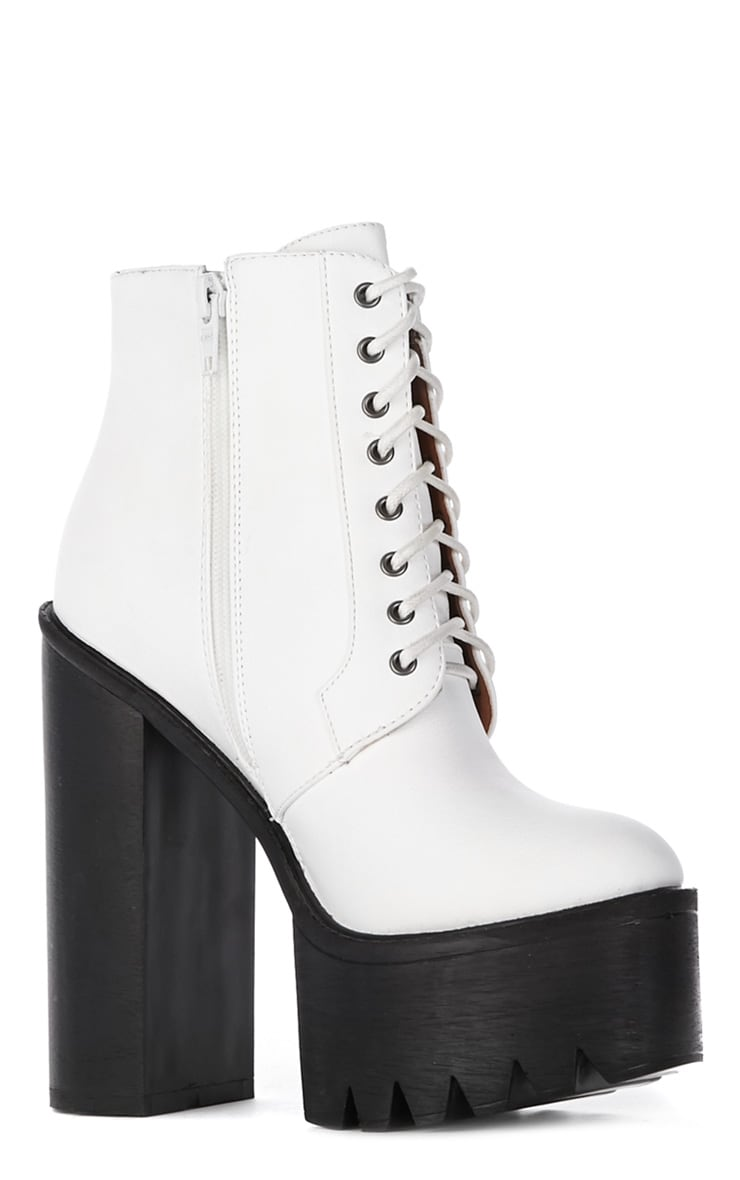 Wesley White Chunky Lace Up Boots 3