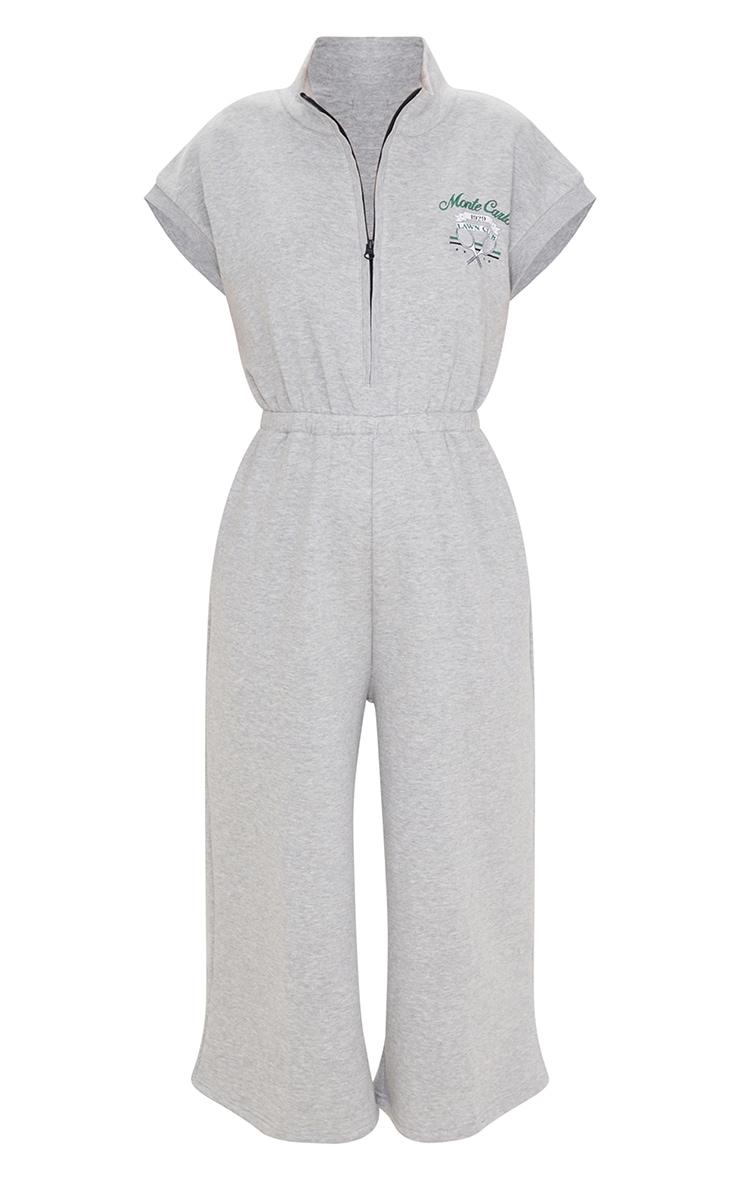 Grey Marl Monte Carlo Zip Sleeveless Sweat Culotte Jumpsuit 5