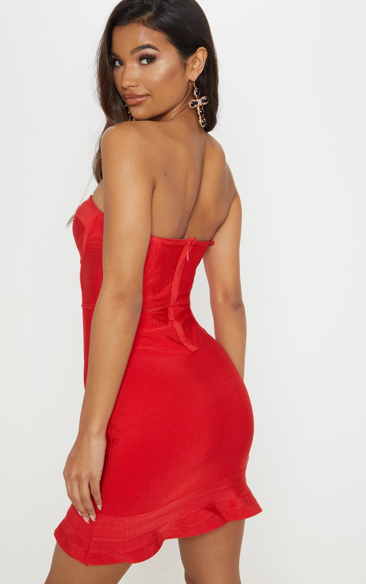 Red Bandage Frill Hem Bodycon Dress 2