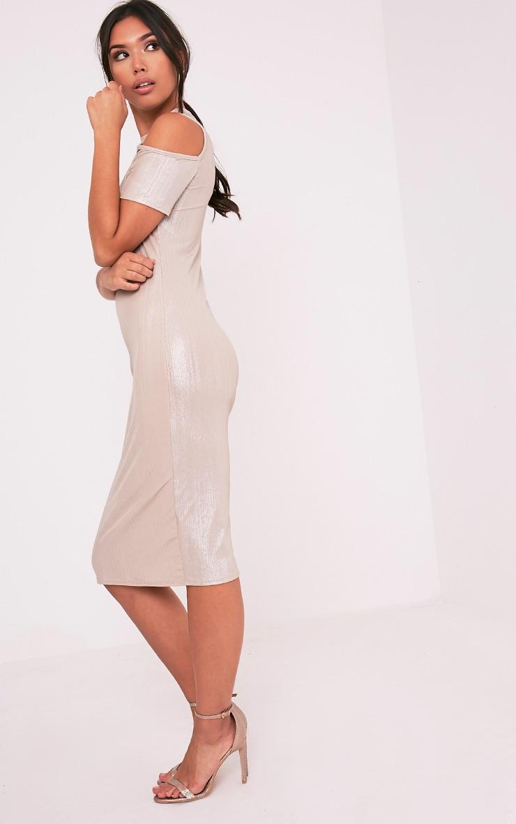 Avaery Champagne Metallic Cold Shoulder Midi Dress 4