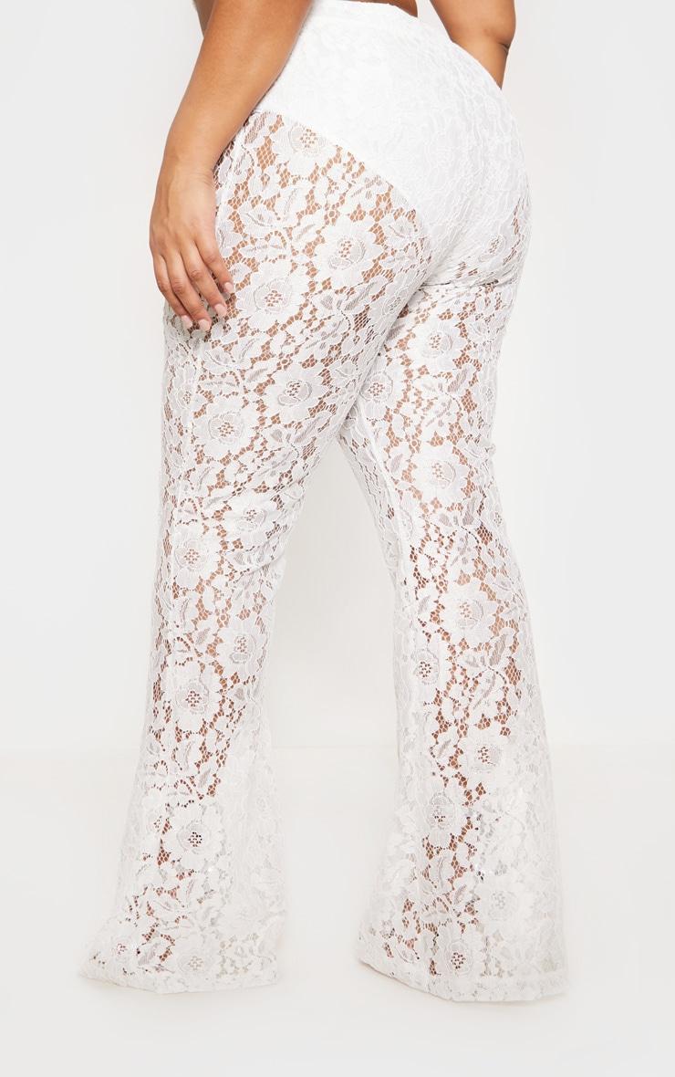 White Lace Sheer Flare Leg Pants 5