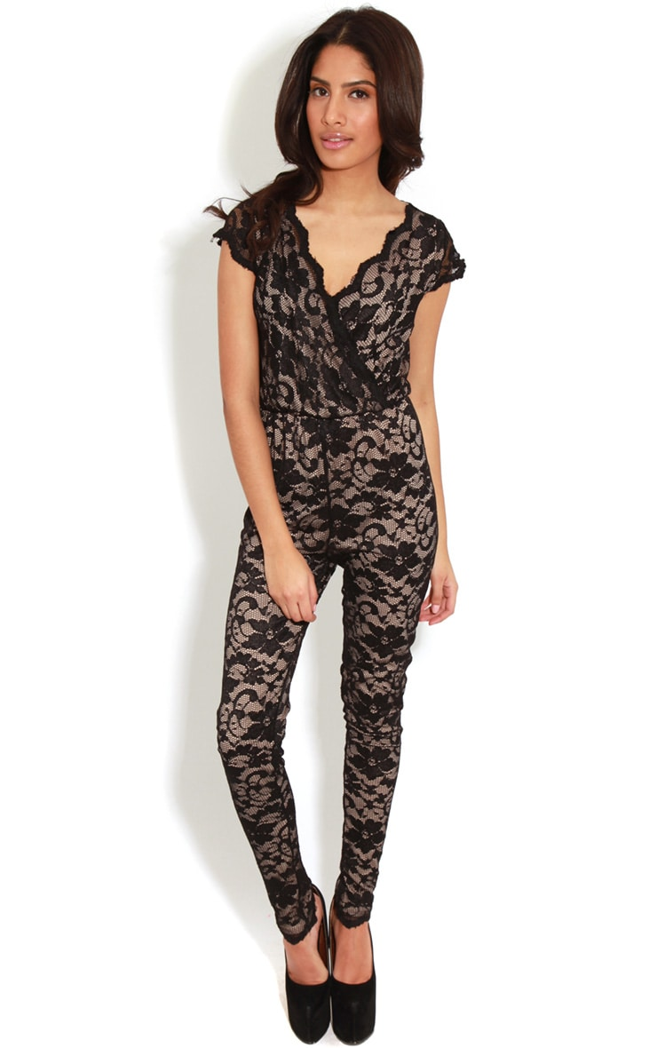 Olivia Nude & Black Lace Crossover Jumpsuit 3