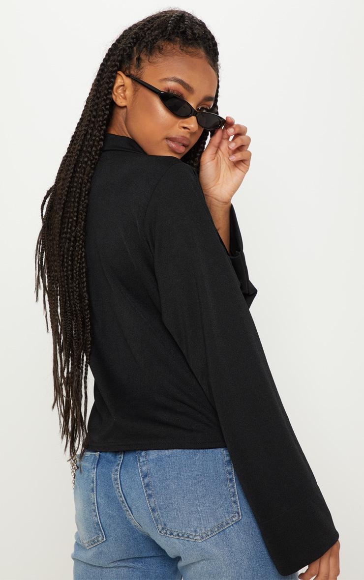 Chemise noire oversized à détail poches 2