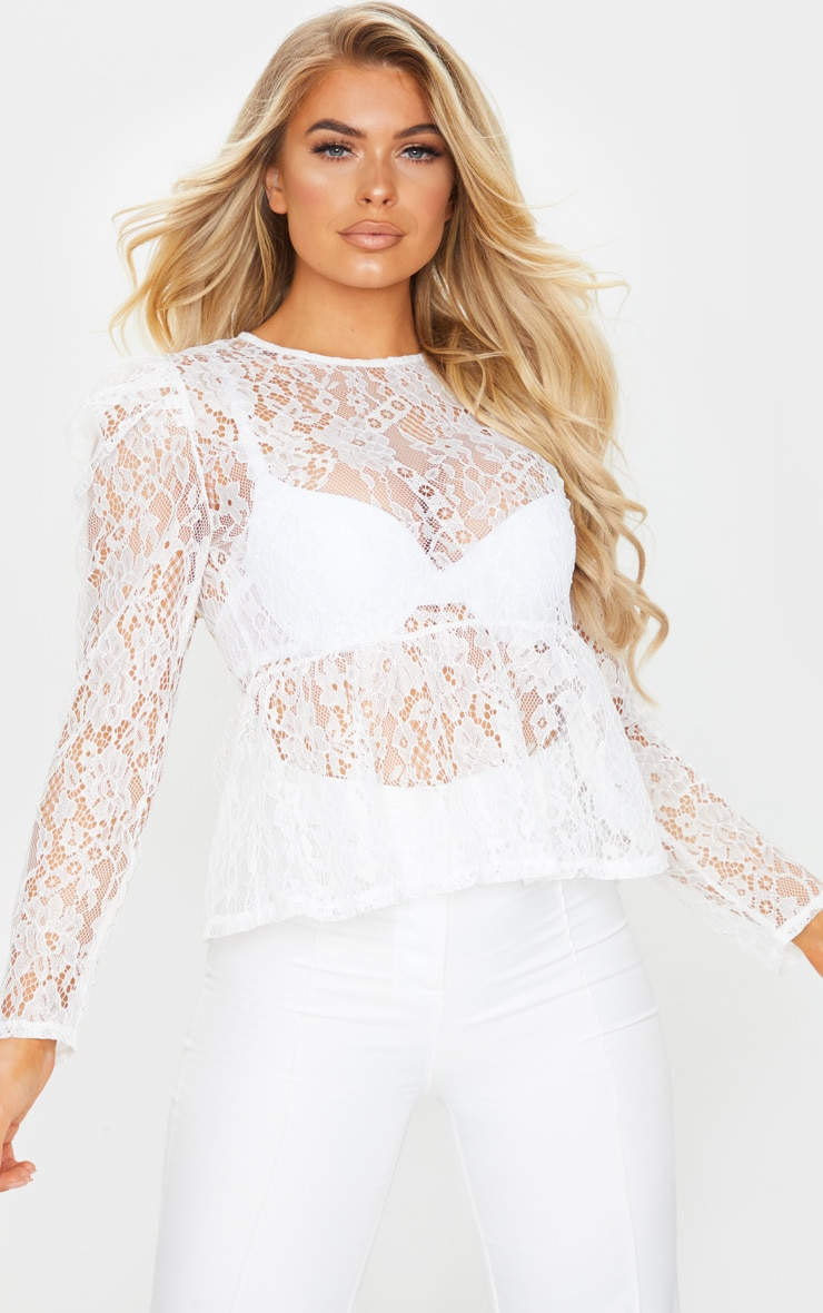 White Sheer Lace Puff Sleeve Blouse 1