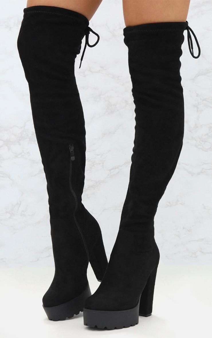 Black Suede Extreme Platform Thigh Boot 2