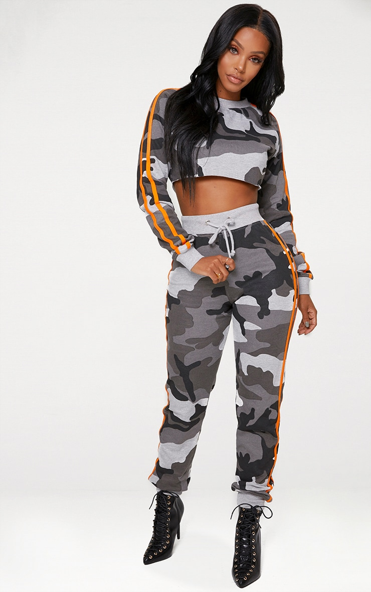 Shape Grey Camo Side Stripe Joggers 1