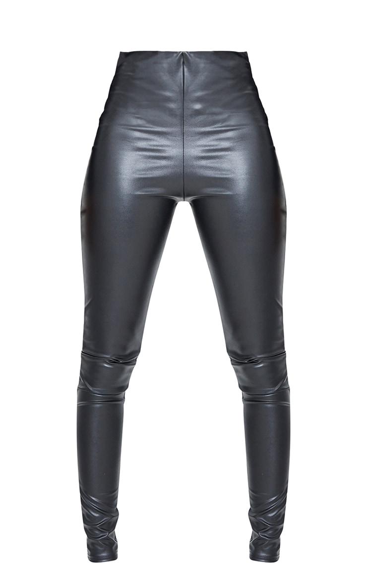Tall Black Basic Faux Leather High Waist Leggings 5