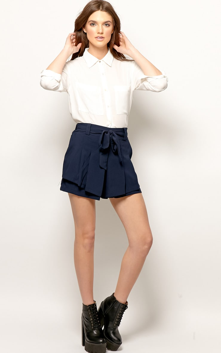Montana Navy Pleated Shorts  4