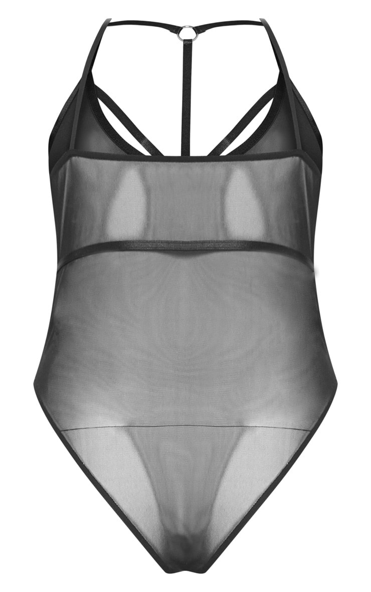 Plus Black Mesh Harness Detail Bodysuit 4